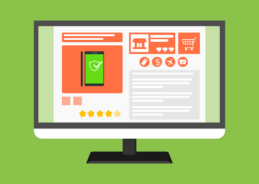 E-commerce cybersecurity is essential - shopping cart illustration